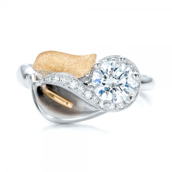 Custom Two-Tone Gold Calla Lilly Engagement Ring - Top View