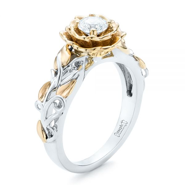 18k White Gold And 18K Gold Custom Two-tone Organic Vines Engagement Ring - Three-Quarter View -