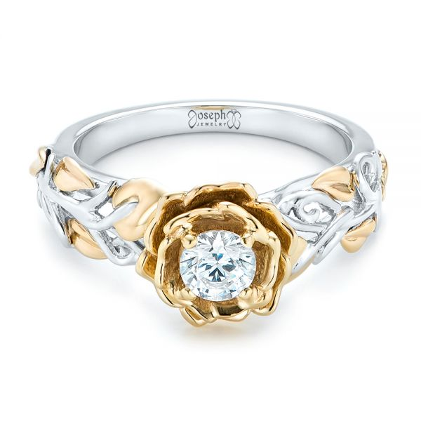 18k White Gold And 18K Gold Custom Two-tone Organic Vines Engagement Ring - Flat View -