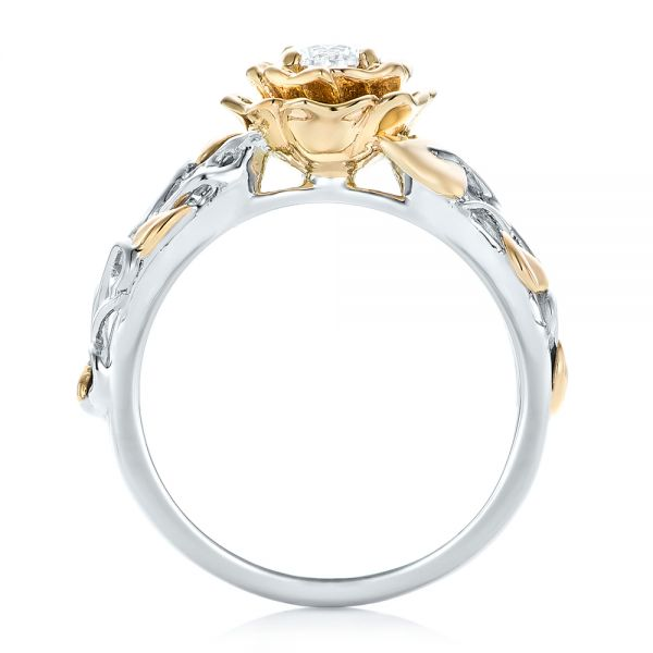 18k White Gold And 18K Gold Custom Two-tone Organic Vines Engagement Ring - Front View -