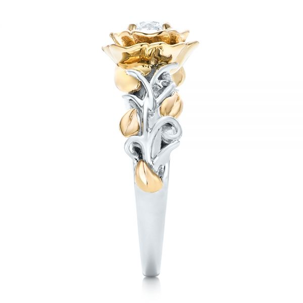 18k White Gold And 18K Gold Custom Two-tone Organic Vines Engagement Ring - Side View -