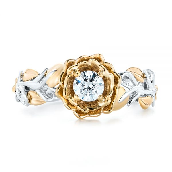 18k White Gold And 18K Gold Custom Two-tone Organic Vines Engagement Ring - Top View -