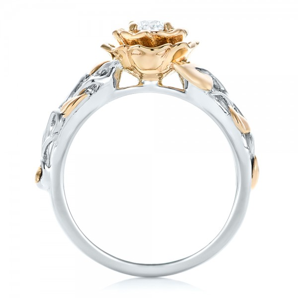Custom Two-Tone Gold Organic Vines Engagement Ring - Finger Through View