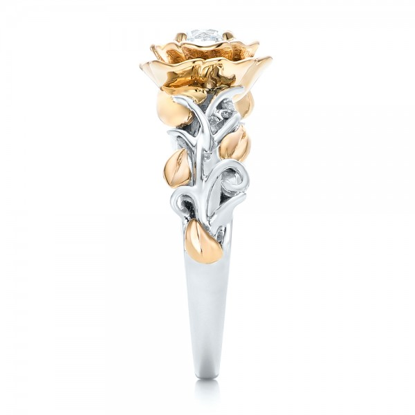 Custom Two-Tone Gold Organic Vines Engagement Ring - Side View