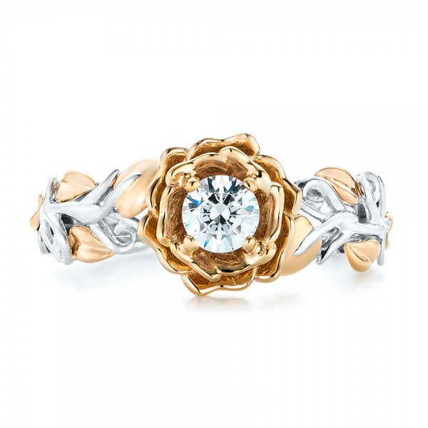 Custom Two-Tone Gold Organic Vines Engagement Ring - Top View
