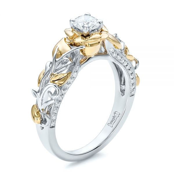 Custom Two-Tone Gold Organic Vines and Diamond Engagement Ring - Image