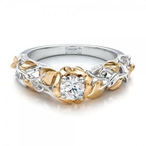Custom Two-Tone Gold Organic Vines and Diamond Engagement Ring