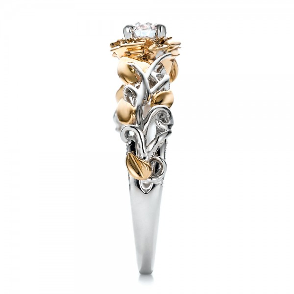Custom Two-Tone Gold Organic Vines and Diamond Engagement Ring - Side View