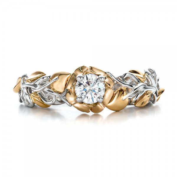 Custom Two-Tone Gold Organic Vines and Diamond Engagement Ring - Top View