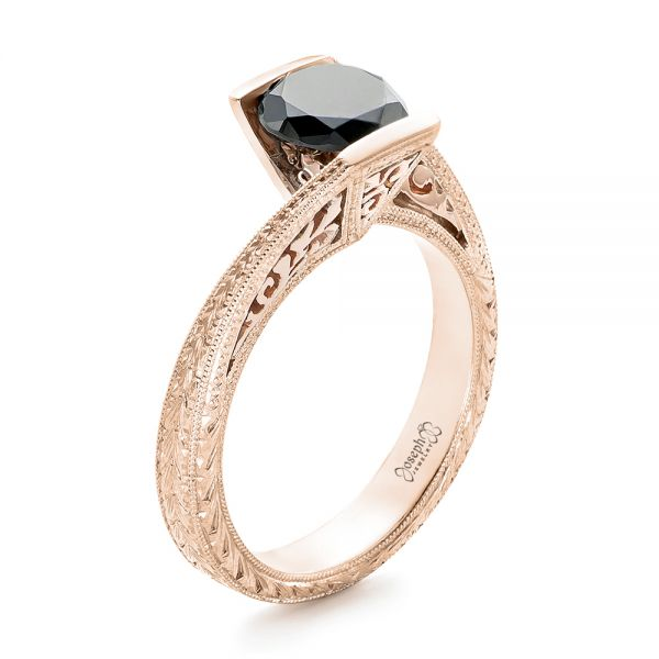 14k Rose Gold And 14K Gold 14k Rose Gold And 14K Gold Custom Two-tone Black Diamond Engagement Ring - Three-Quarter View -