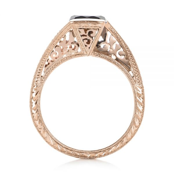 14k Rose Gold And 14K Gold 14k Rose Gold And 14K Gold Custom Two-tone Black Diamond Engagement Ring - Front View -