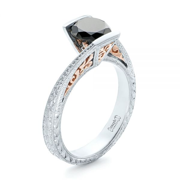 14k White Gold And 14K Gold Custom Two-tone Black Diamond Engagement Ring - Three-Quarter View -