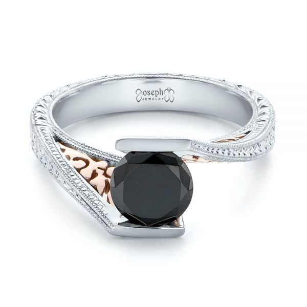 14k White Gold And 14K Gold Custom Two-tone Black Diamond Engagement Ring - Flat View -