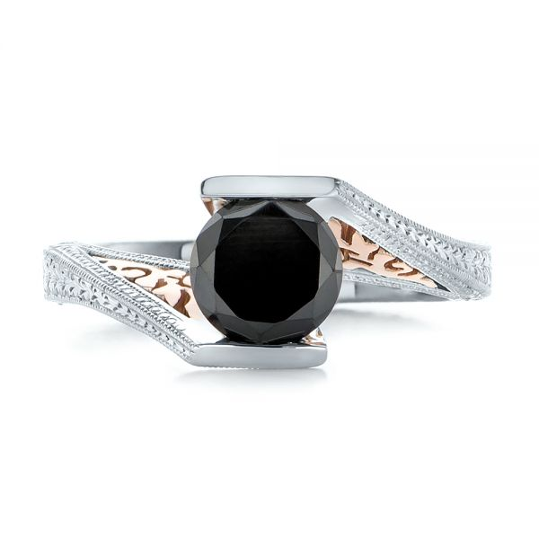 14k White Gold And 14K Gold Custom Two-tone Black Diamond Engagement Ring - Top View -