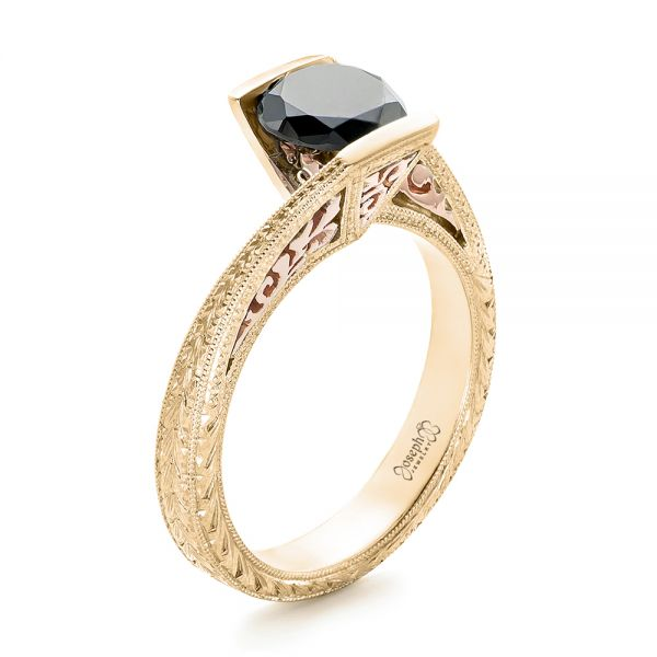 Custom Two-Tone Gold and Black Diamond Engagement Ring