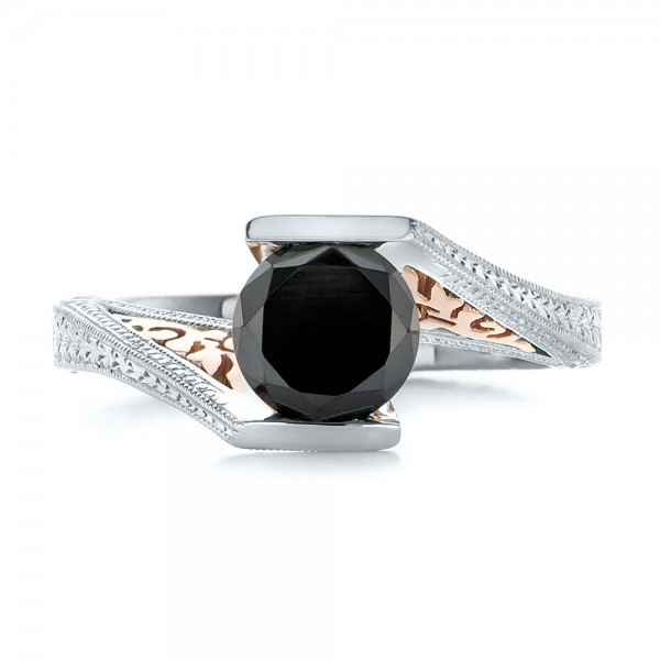 Custom Two-Tone Gold and Black Diamond Engagement Ring - Top View