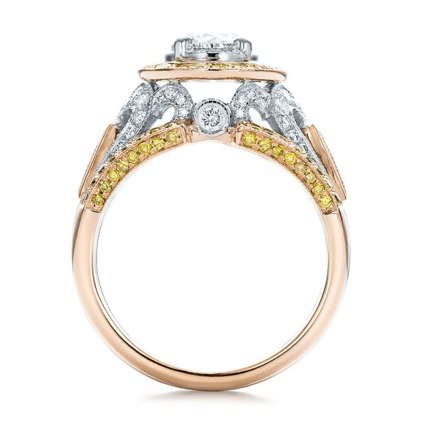 18K Gold And 18k Rose Gold 18K Gold And 18k Rose Gold Custom Two-tone Yellow And White Diamond Engagement Ring - Front View -