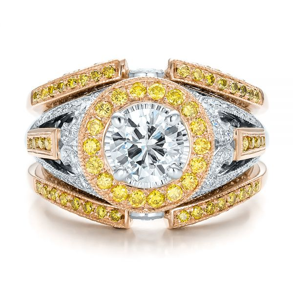 18K Gold And 18k Rose Gold 18K Gold And 18k Rose Gold Custom Two-tone Yellow And White Diamond Engagement Ring - Top View -