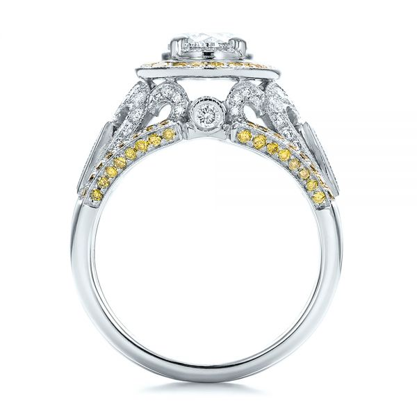 18K Gold And 14k White Gold 18K Gold And 14k White Gold Custom Two-tone Yellow And White Diamond Engagement Ring - Front View -