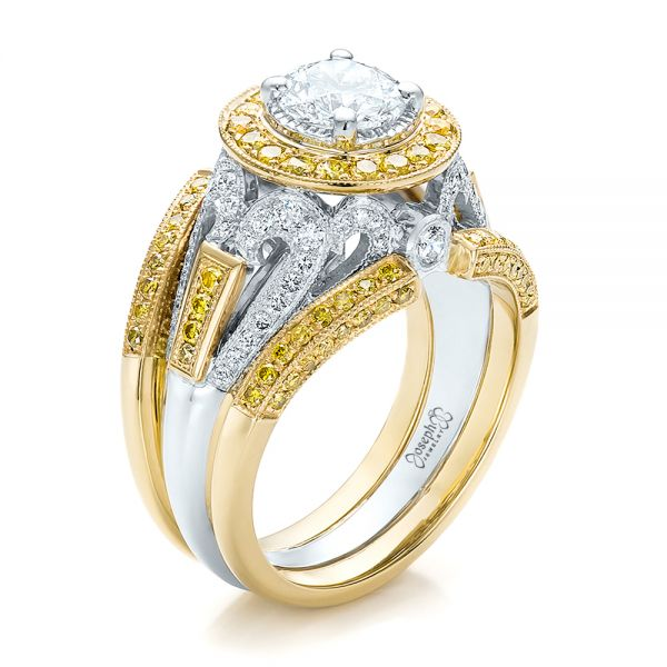 Custom Two-Tone Gold and Yellow and White Diamond Engagement Ring - Image