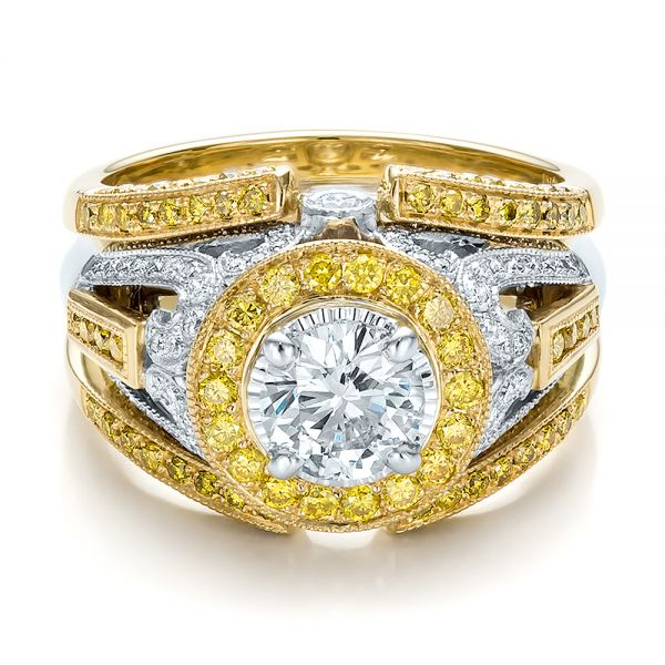 Custom Two-Tone Gold and Yellow and White Diamond Engagement Ring - Flat View -  100640 - Thumbnail