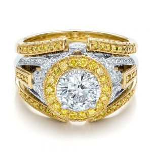 Custom Two-Tone Gold and Yellow and White Diamond Engagement Ring