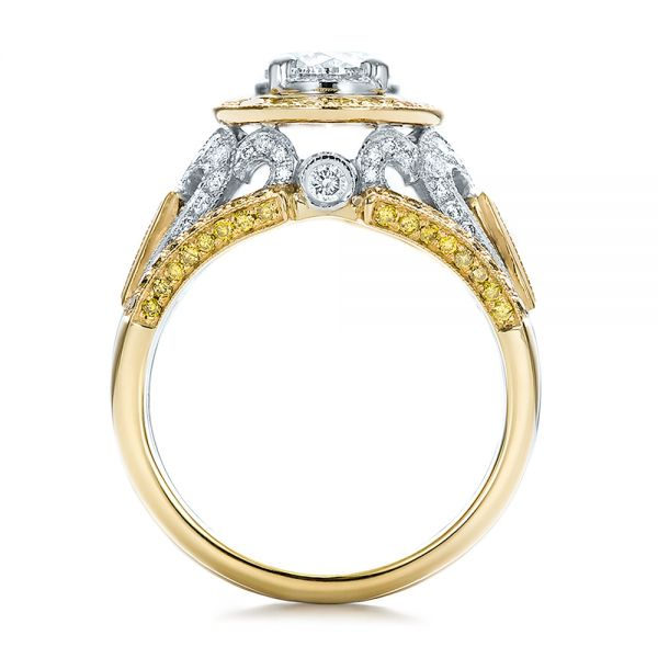 Custom Two-Tone Gold and Yellow and White Diamond Engagement Ring - Front View -  100640 - Thumbnail