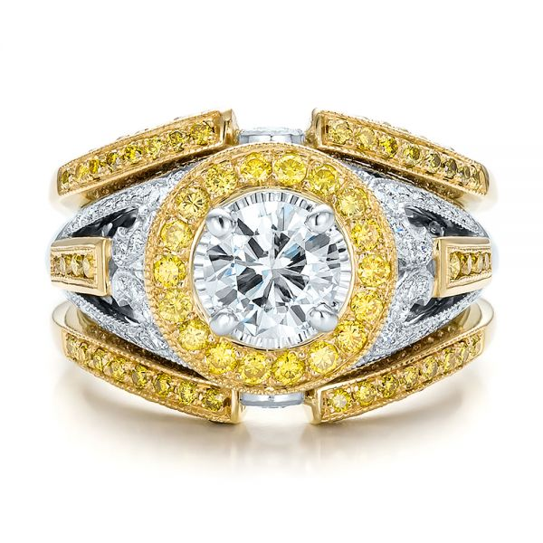 Custom Two-Tone Gold and Yellow and White Diamond Engagement Ring - Top View -  100640 - Thumbnail