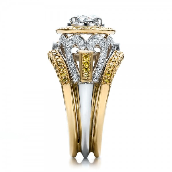 Custom Two-Tone Gold and Yellow and White Diamond Engagement Ring - Side View