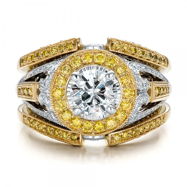 Custom Two Tone Gold And Yellow And White Diamond Engagement Ring