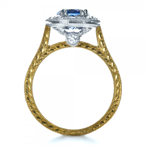 Custom Two-Tone Halo Diamond Engagement Ring - Finger Through View