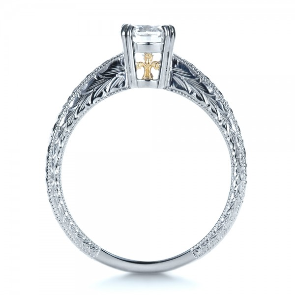 custom two tone engraved engagement ring 1384
