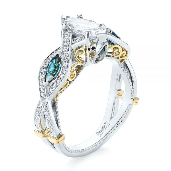 Custom Two-Tone London Blue Topaz and Diamond Engagement Ring - Image