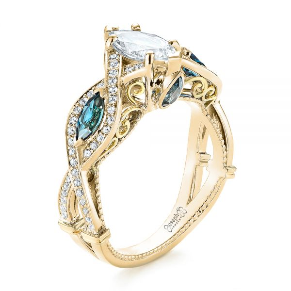 14k Yellow Gold And 18K Gold Custom Two-tone London Blue Topaz And Diamond Engagement Ring