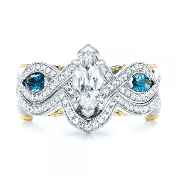 Custom Two-Tone London Blue Topaz and Diamond Engagement Ring