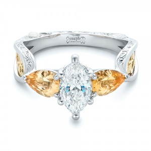 Custom Two-Tone Marquise Diamond and Golden Topaz Engagement Ring