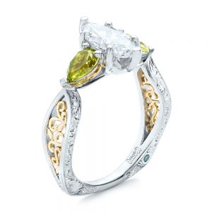 Custom Two-Tone Marquise Diamond and Peridot Engagement Ring - Image