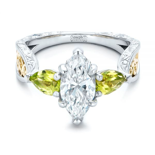 Custom Two-Tone Marquise Diamond and Peridot Engagement Ring - Flat View -  101990 - Thumbnail