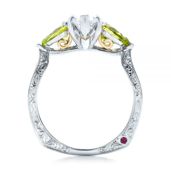 Custom Two-Tone Marquise Diamond and Peridot Engagement Ring - Front View -  101990 - Thumbnail