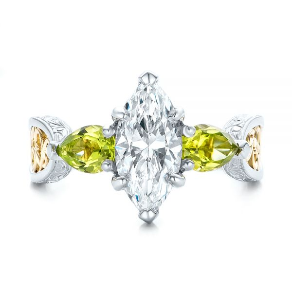Custom Two-Tone Marquise Diamond and Peridot Engagement Ring - Top View -  101990 - Thumbnail
