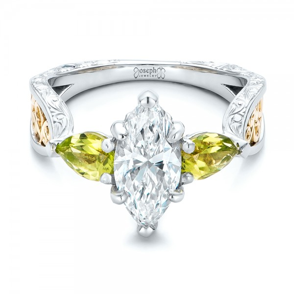 Custom Two-Tone Marquise Diamond and Peridot Engagement Ring