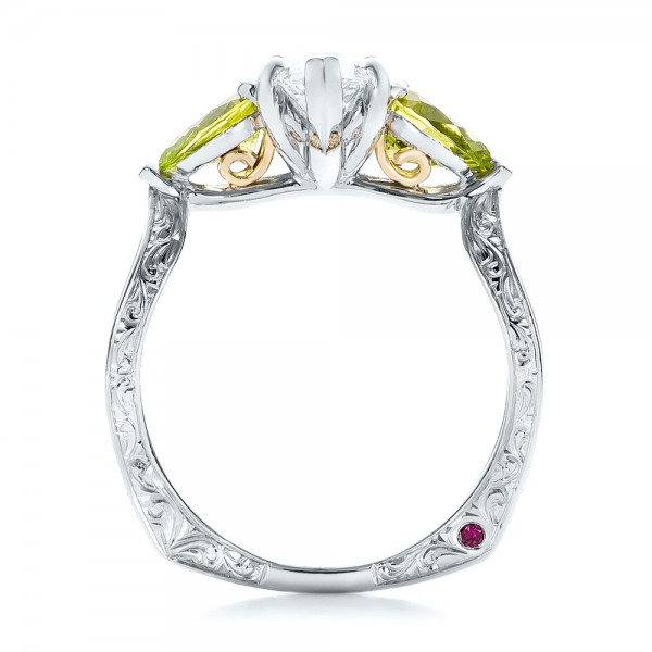Custom Two Tone Marquise Diamond And Peridot Engagement Ring