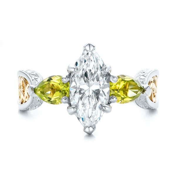 Custom Two-Tone Marquise Diamond and Peridot Engagement Ring - Top View