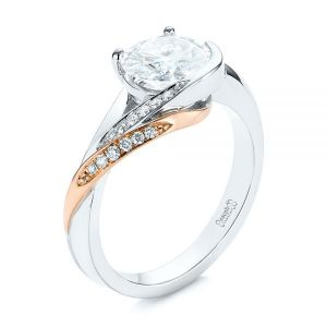 Custom Two-Tone Moissanite and Diamond Wrap Engagement Ring - Image
