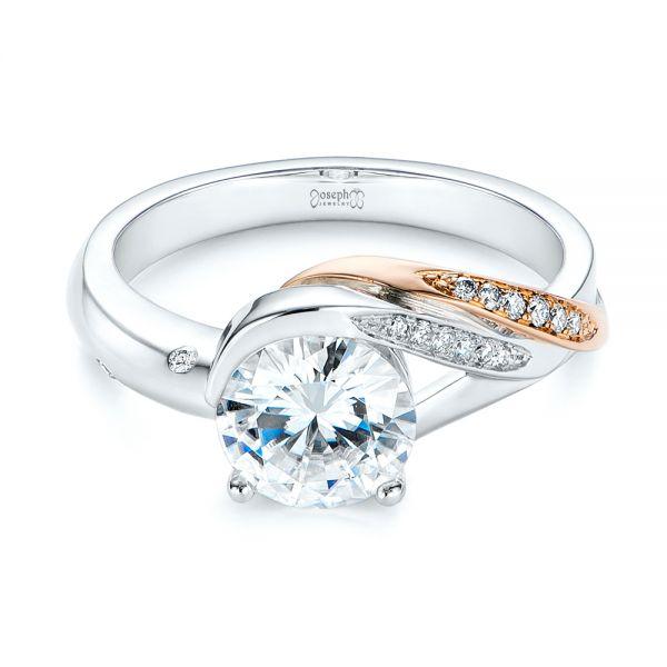 18k Rose Gold Custom Two-tone Moissanite And Diamond Wrap Engagement Ring - Flat View -  105158 - Thumbnail