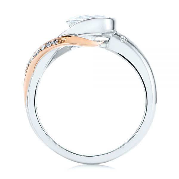 18k Rose Gold Custom Two-tone Moissanite And Diamond Wrap Engagement Ring - Front View -  105158 - Thumbnail