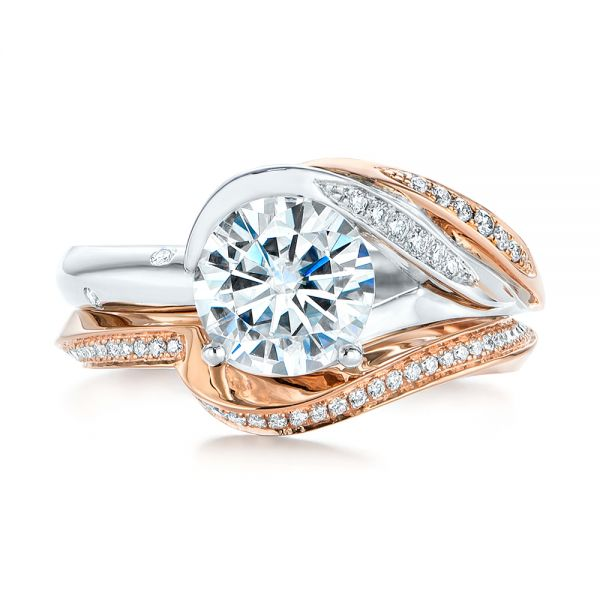 18k Rose Gold Custom Two-tone Moissanite And Diamond Wrap Engagement Ring - Top View -  105158 - Thumbnail