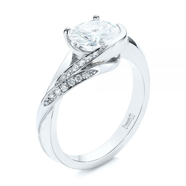 18K White Gold Custom Two-Tone Moissanite and Diamond Wrap Engagement Ring - Three-Quarter View -  105158 - Thumbnail