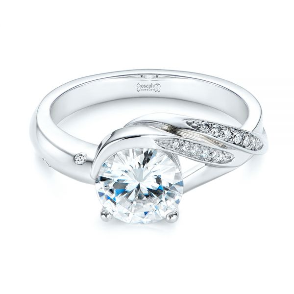 Custom Two-Tone Moissanite and Diamond Wrap Engagement Ring