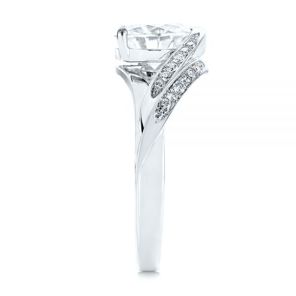 18K White Gold Custom Two-Tone Moissanite and Diamond Wrap Engagement Ring - Side View -  105158 - Thumbnail